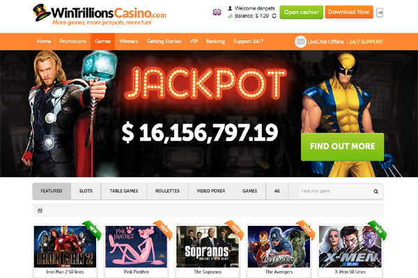 Wintrillions Casino screen shot